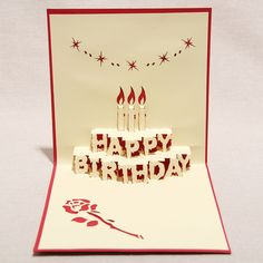 """3D """"Happy Birthday"""" Handmade Creative Kirigami & Origami Pop UP Greeting & Gift Card(set of 10)-in Crafts from Home & Garden on Aliexpress.com"""