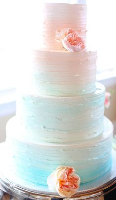 pretty pale coral to light teal ombre with peonies