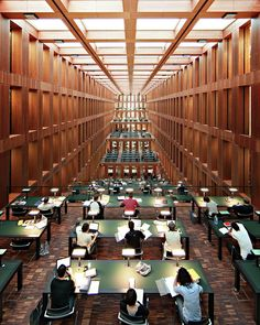 The reading hall of the Jacob-und-Wilhelm-Grimm-Zentrum, the new central library of the Humboldt university in Berlin. Bar Lounge, Ballettschule Berlin, Berlin Germany, Restaurant Bar, Staatsbibliothek Berlin, Wilhelm Grimm, College Library, Central Library, Hall Design