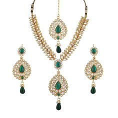 Beautiful Kundan Green Stone Gold Plated Party Bollywood Jewelry Necklace Set #natural_gems15