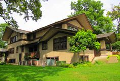 This Frank Lloyd Wright designed house in Kankakee, Illinois was built in 1901 for B. Harley Bradley. The house is located in Kankakee's Riverview Historic District.  The house was designed and built as at the same time as its neighbor, the Hickox House, which is the only other FLW designed house in Kankakee.