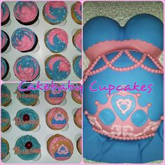 Pink and Blue Princess Themed BCUP party package. Yellow Cake with Cream Cheese Icing for the Baby Bump Cake and Vanilla Bean, Chocolate Chunk, Pineapple Upside Down, and Strawberry Cheesecake for the cupcakes.