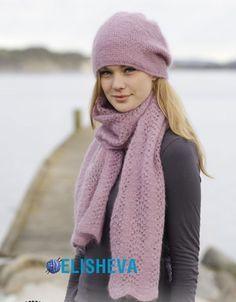 Шапка и шарф из мохера от Drops Design. Описание вязания и схема бесплатно