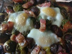 Baked brussels sprouts with bacon and eggs