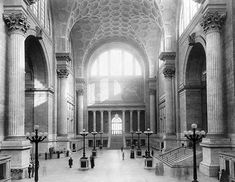 Old Penn Station interior before demolished (New York City - Mckim, Mead and White. Glorious architecture reduced to rubble to be replaced by something blah & utalitarian. Madison Square Garden, Ville New York, Vintage New York, Mead, Beautiful Buildings, New York City, Old Things, Villa, Art Deco