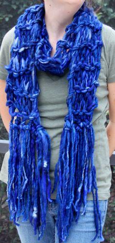 Hand Knit Super Bulky Scarf in Tardis Blue Handspun by bpenatzer, $89.00