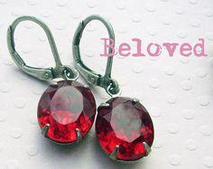 Red Rhinestone Earrings  Estate Style  July by deborahmcgovern, $17.00