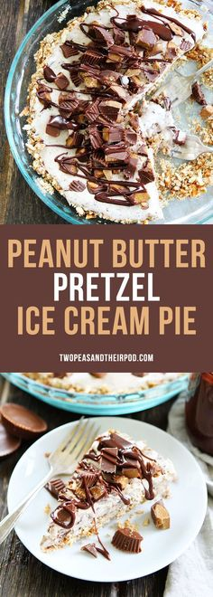 Peanut Butter Pretzel Ice Cream Pie A salty pretzel crust filled with Moose Tracks ice cream then topped with peanut butter cups and drizzled with peanut butter hot fudge sauce! Peanut butter lovers will go crazy for this pie!