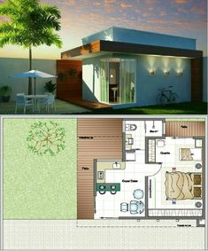 No photo description available. Small House Floor Plans, Home Design Floor Plans, Dream House Plans, Sims 4 House Building, Sims House, Small House Design, Modern House Design, One Bedroom House, Small Bungalow