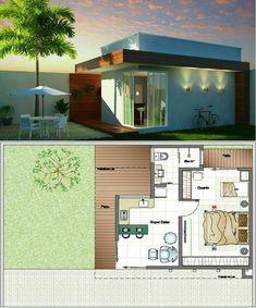 No photo description available. Small House Floor Plans, Home Design Floor Plans, Dream House Plans, Sims 4 House Building, Sims House, Small House Design, Modern House Design, One Bedroom House, Small Bungalow
