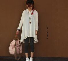 Loose Fitting Linen Long Shirt Blouse for Women - black -white -Long Sleeved Women Spring Dress cape (23) via Etsy
