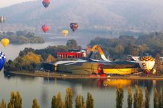Hot-Air Balloon Festivals From Around The World Fill The Sky With Orbs Of Vivid Colors Moving To Australia, Visit Australia, Australia Travel, Australian Continent, City Sky, Houses Of Parliament, Largest Countries, Urban Landscape, Capital City