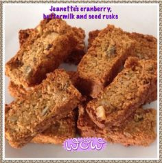 CRANBERRY, BUTTERMILK SEED RUSKS: 4 cups almond flour 2 teaspoons baking powder 1 teaspoon bicarb. A pinch of salt 1/2 cup xylitol 2 tablespoons coconut flour 1/4 cup desiccated coconut 1/4 cup pum…