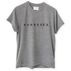 WANDERER TEE GREY (2.765 RUB) ❤ liked on Polyvore featuring tops, t-shirts, shirts, t shirts, grey tee, gray t shirt, grey top, cotton tees and grey shirt