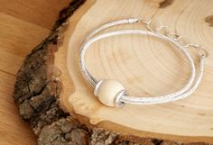 Gift for your Love - Leather Bracelet, Sterling Silver clasp with Wooden Bead from the same year when your loved ones born. by MsHeartwoodJewellery on Etsy Wooden Beads, Personalized Gifts, Pure Products, Sterling Silver, Unique Jewelry, Bracelets, Earrings, Ms, Leather