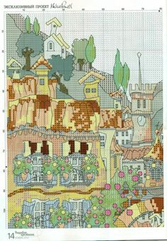Gallery.ru / Фото #5 - Домики Прованса - mila010154 Cross Stitch Art, Cross Stitching, Cross Stitch Patterns, Michael Powell Cross Stitch, Cross Stitch Landscape, Le Point, Vintage World Maps, Diagram, Embroidery