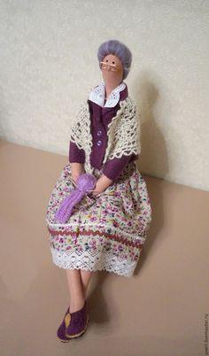 Купить Кукла Бабулечка - сиреневый, тильды, куклы тильды, подарок, текстильные куклы, бабушка ♡