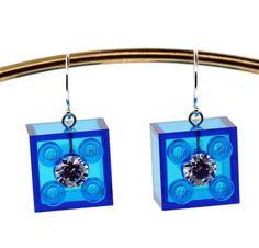 Lego Earrings  Transparent Blue Lego  Swarovski Gems  by UBrickIt, $22.00