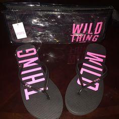 BRAND NEW PINK FLIPFLOPS Black and Pink Flip Flops PINK Victoria's Secret Shoes Sandals