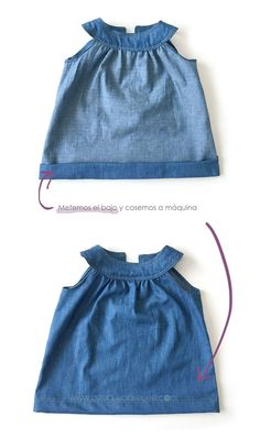 Vestido Vaquero de Bebé – Tutorial y patrón Toddler Dress Patterns, Baby Clothes Patterns, Dress Sewing Patterns, Baby Girl Shirts, Little Girl Dresses, Dress Girl, Baby Girl Fashion, Kids Fashion, Fashion Outfits