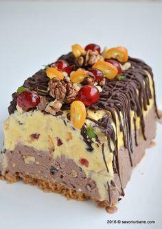 Casata Cake, Cake Cookies, Cakes, Romanian Desserts, Romanian Food, Frozen Desserts, Vegan Desserts, Parfait, Vegan Kitchen