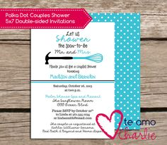 Kitchenware Couples Shower Invitations - Mr and Mrs Couples Shower Invitations by TeAmoCharlie on Etsy https://www.etsy.com/listing/171761014/kitchenware-couples-shower-invitations