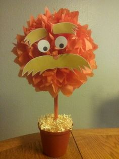 Lorax pom pom for Aliyah's 1st birthday
