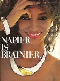 Sheila Johnson for Napier Jewelry Jewellery Advertising, Jewelry Ads, Bold Jewelry, Retro Advertising, Retro Ads, Clay Jewelry, Fashion Jewelry, Vintage Costume Jewelry, Vintage Costumes