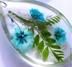 Sets of handmade jewelry. Tenderness turquoise. Eldoriada. Shop Online Fair Masters. Epoxy resin, decoration with flowers, dried flowers