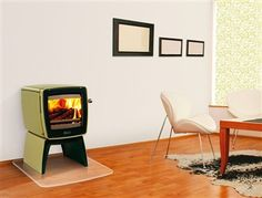 retro #fireplace. love how it looks like a tv