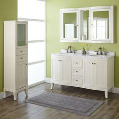 "60"" Palmetto Creamy White Double Vanity Set - Double Sink Vanities - Bathroom Vanities - Bathroom"