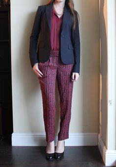 LOFT burgundy blouse and harem pants, Theory navy blazer