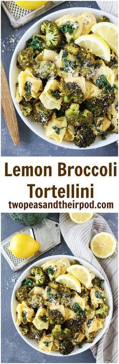 Lemon Broccoli Tortellini Recipe on twopeasandtheirpod.com This easy tortellini pasta dish is bursting with flavor! It is favorite weeknight dinner!