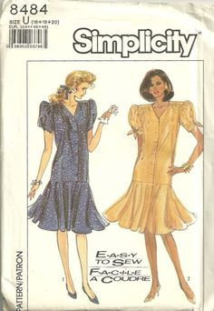 Simplicity 8484 1980s Misses Flirty Drop Waist Flared Skirt Dress Pattern Easy Womens Vintage Sewing Pattern  Easy by patterngate.com