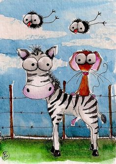 ACEO Original Folk Art Lucia Stewart African Animals Mouse Zebra Crow Whimsy | eBay