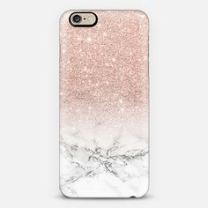 Modern rose gold foil glitter ombre white marble color block by Girly Trend - Classic Grip Case