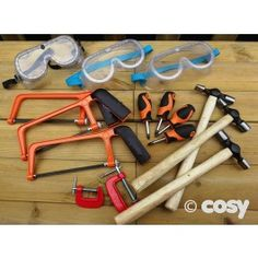 A starter set of real woodworking tools, a must for woodwork tables. Using real tools is great for children's confidence, coordination and fine motor control. Set of 15 items. Woodworking Tool Set, Woodworking Software, Cosy Direct, Construction Area, Workbench Plans, Starter Kit, Fine Motor, Tools, Search