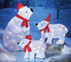 SET OF 3 Lighted CHRISTMAS SANTA POLAR BEARS DISPLAY Outdoor Holiday ...