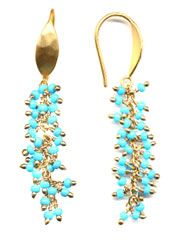 Tiny turquoise seed beads and rich gold plated earwires. => waououououw !!!