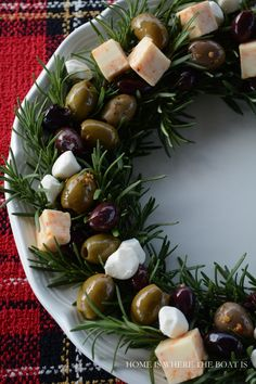 Rosemary Wreath with Olives and Cheese