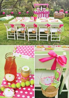 Green and pink party deco
