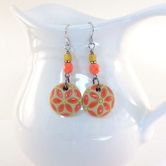Earrings Coral and Yellow Golem Designs Flowers by CinLynnBoutique