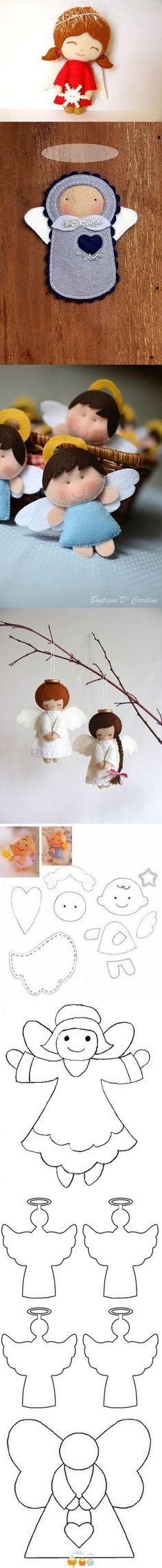 DIY Felt Angels Templates DIY Felt Angels Templates by diyforever Angel Crafts, Felt Crafts, Christmas Crafts, Felt Christmas, Christmas Angels, Felt Angel, Felt Templates, Felt Fairy, Felt Dolls