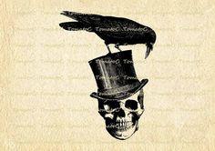 Skull Top Hat Crow Raven Halloween Digital Image Download for Transfer Tea Towel Totes Pillows Burlap Print on Paper Invitation.T442
