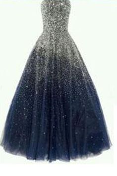 Best Ball Gown Strapless Floor Length Tulle Navy Blue Prom/Evening Dresses uk with Beading PM858