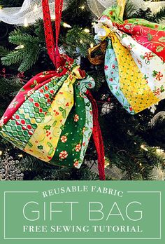 Make a Reusable Fabric Drawstring Gift Bag with this Free Tutorial!