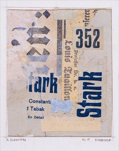 Kurt Schwitters: Starkbild (1919), collage of cut and torn, printed, metallic and tissue papers on paperboard.