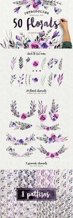 50 Watercolor Flowers Pack by Katsia Jazwinska on Creative Market #designtools