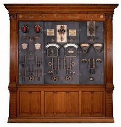 a beautiful example from the Canada Science and Technology Museum: The switchboard control panel from the Sault Ste. Marie canal power house, manufactured in 1895 by Canadian General Electric.  Every Steampunk laboratory needs one!