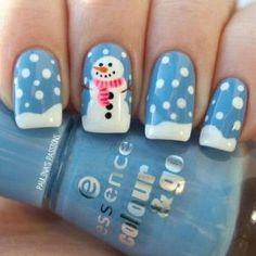 Snowmen Christmas nails galazio-makiniour-xionantrwpos-sxedio